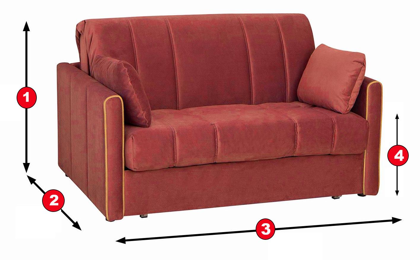 Обозначения размеров дивана для сна
